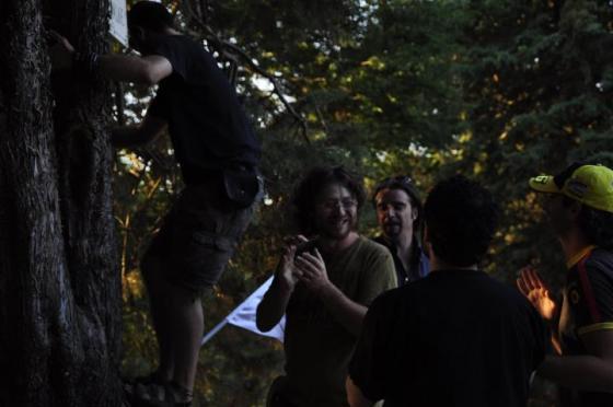 Giubilo per l'apposizione della targa Harambee sull'albero